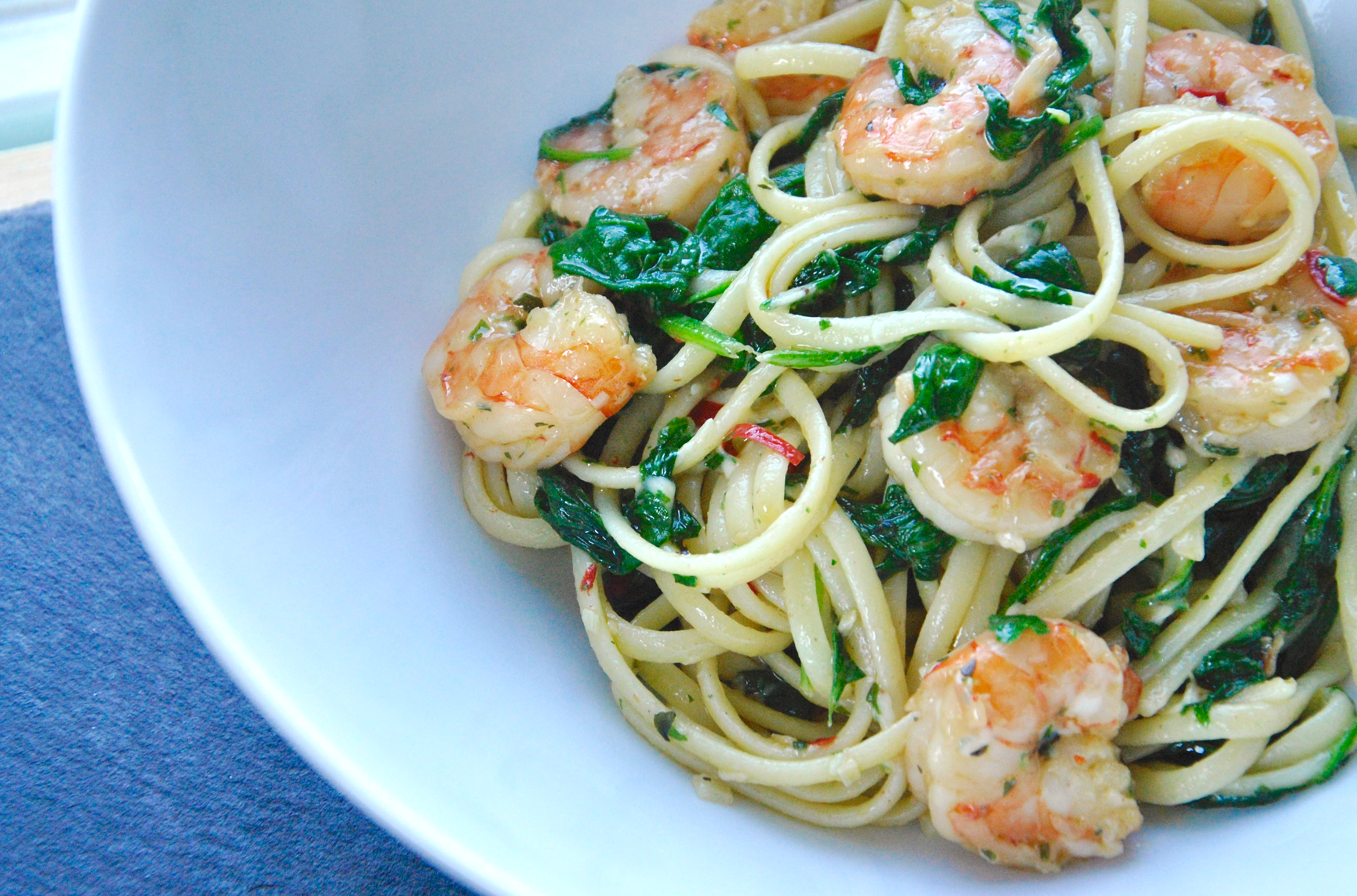 Pasta met garnalen en spinazie