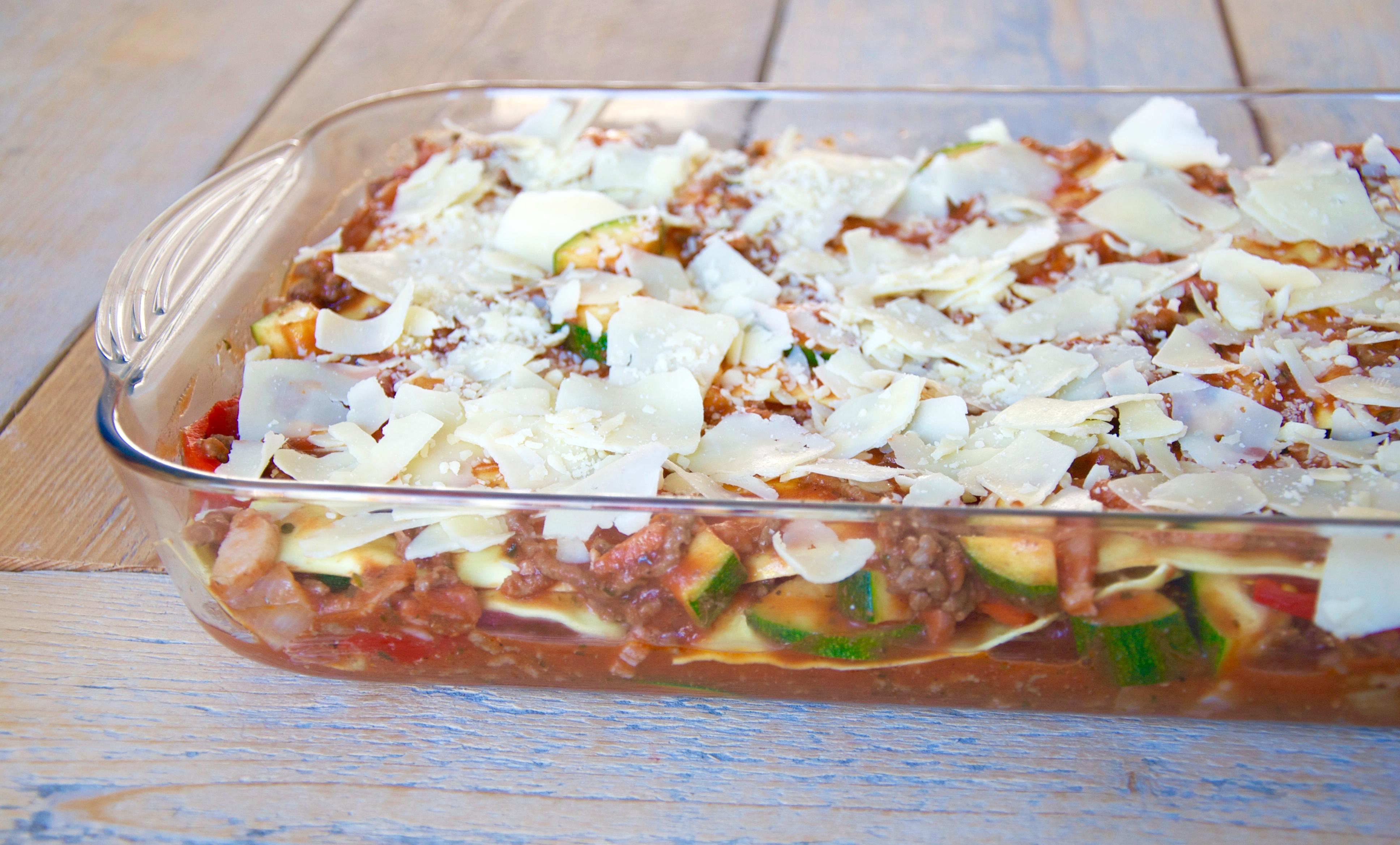 Lasagne met geroosterde paprika